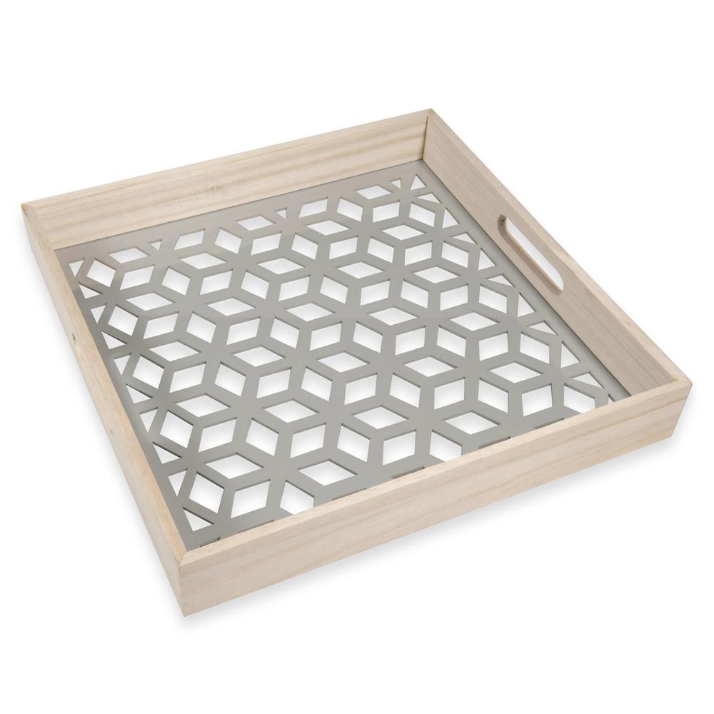 plateau en verre et bois gris summer graphic maisons du monde. Black Bedroom Furniture Sets. Home Design Ideas