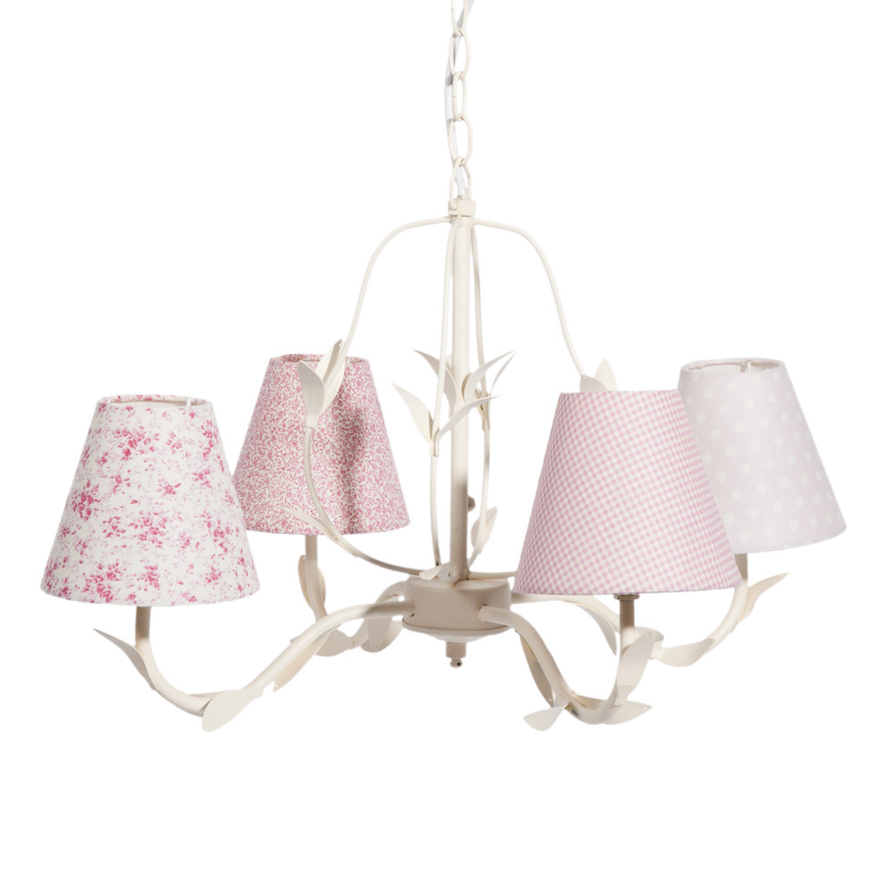 po sie fabric and metal 4 branch chandelier in pink d 52cm maisons du monde. Black Bedroom Furniture Sets. Home Design Ideas