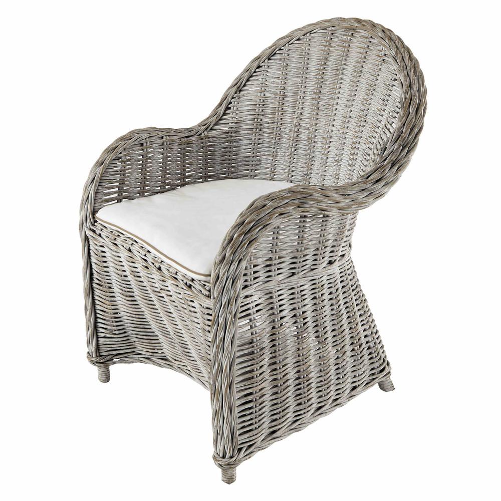poltrona bianca anticata in rattan luna maisons du monde. Black Bedroom Furniture Sets. Home Design Ideas