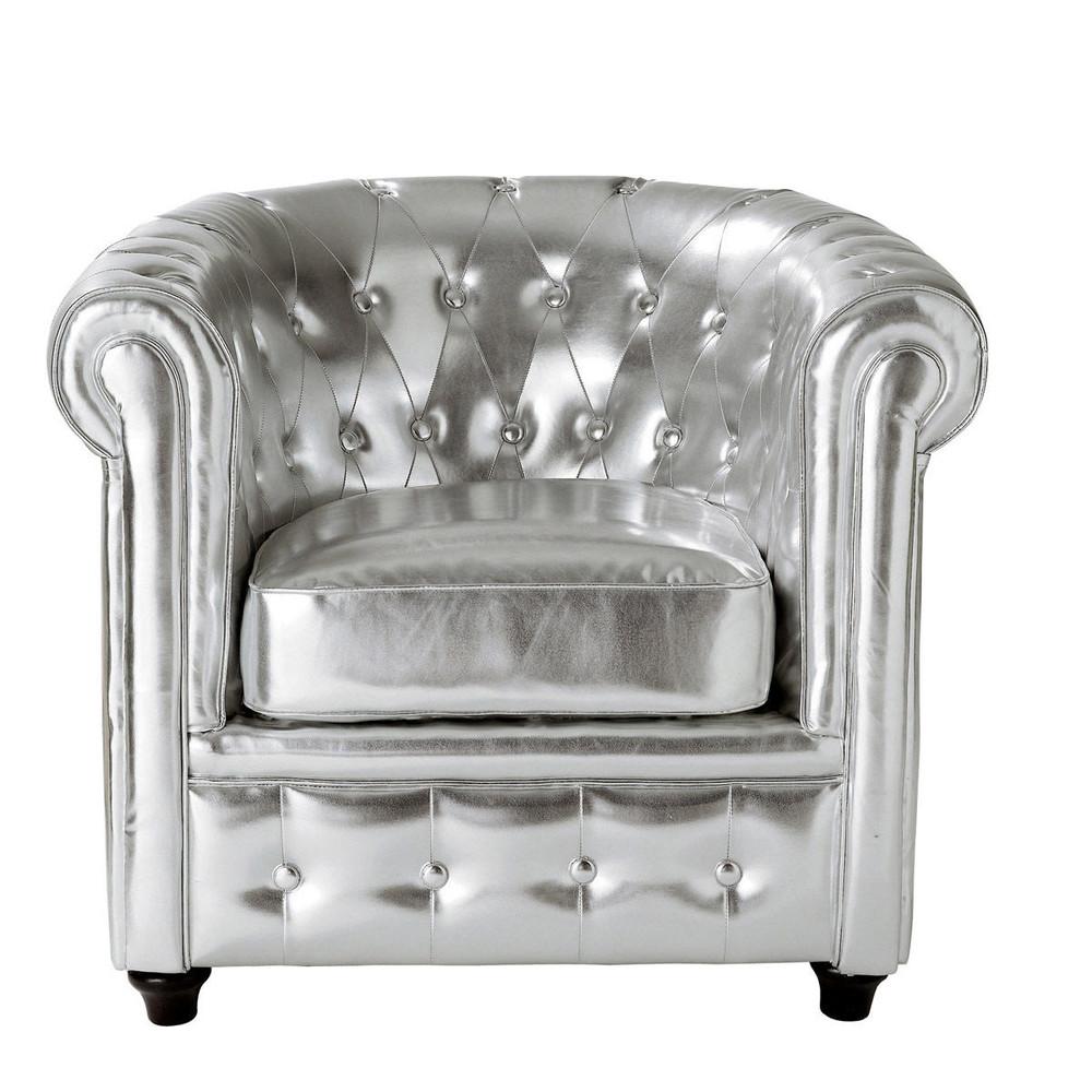 poltrona club imbottita argentata chesterfield maisons du monde. Black Bedroom Furniture Sets. Home Design Ideas