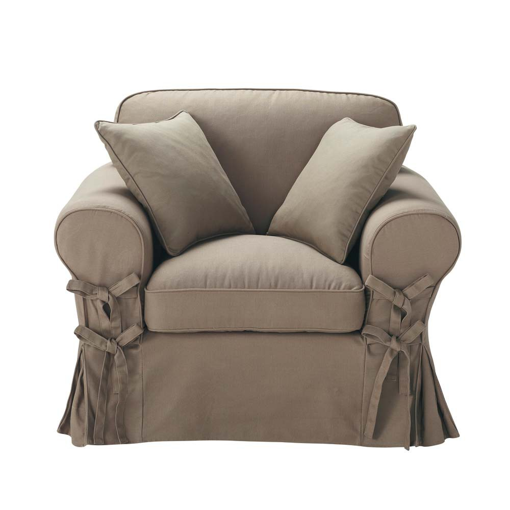 poltrona color talpa in cotone butterfly maisons du monde. Black Bedroom Furniture Sets. Home Design Ideas