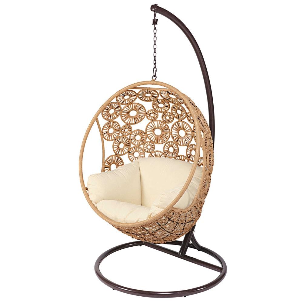 Poltrona sospesa da giardino in resina intrecciata e cuscino cru ibis maisons du monde - Maison du monde cuscini da esterno ...