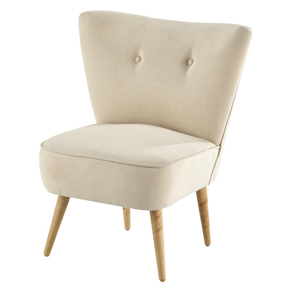 poltrona vintage color beige rosato in cotone scandinave maisons du monde. Black Bedroom Furniture Sets. Home Design Ideas