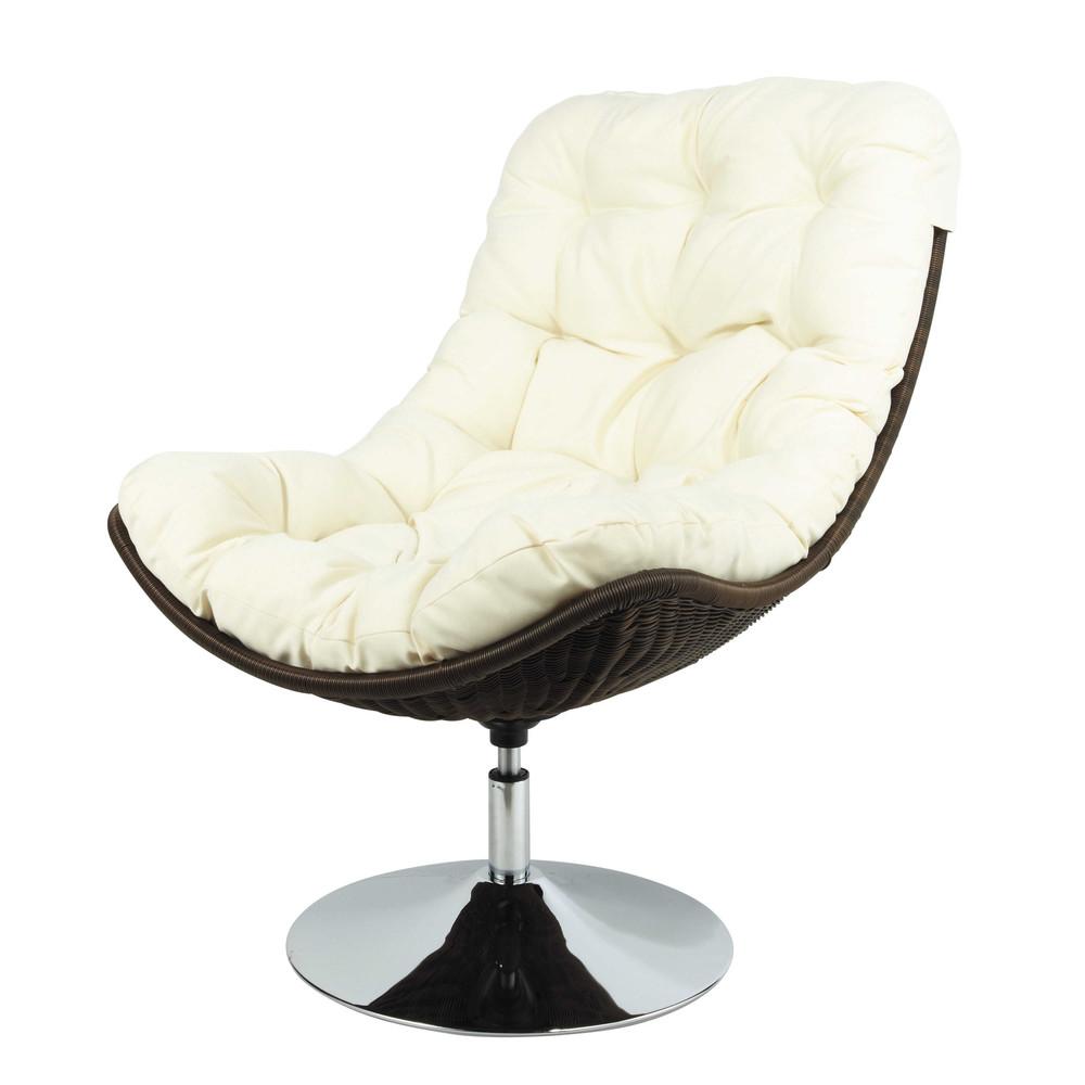Polyethylene wicker armchair in ecru woody maisons du monde - Maisons du monde fauteuils ...