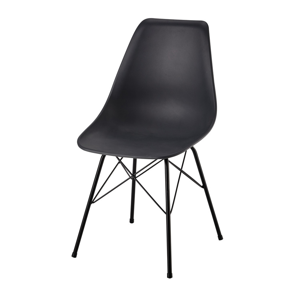 polypropylene and metal chair in charcoal grey cardiff. Black Bedroom Furniture Sets. Home Design Ideas