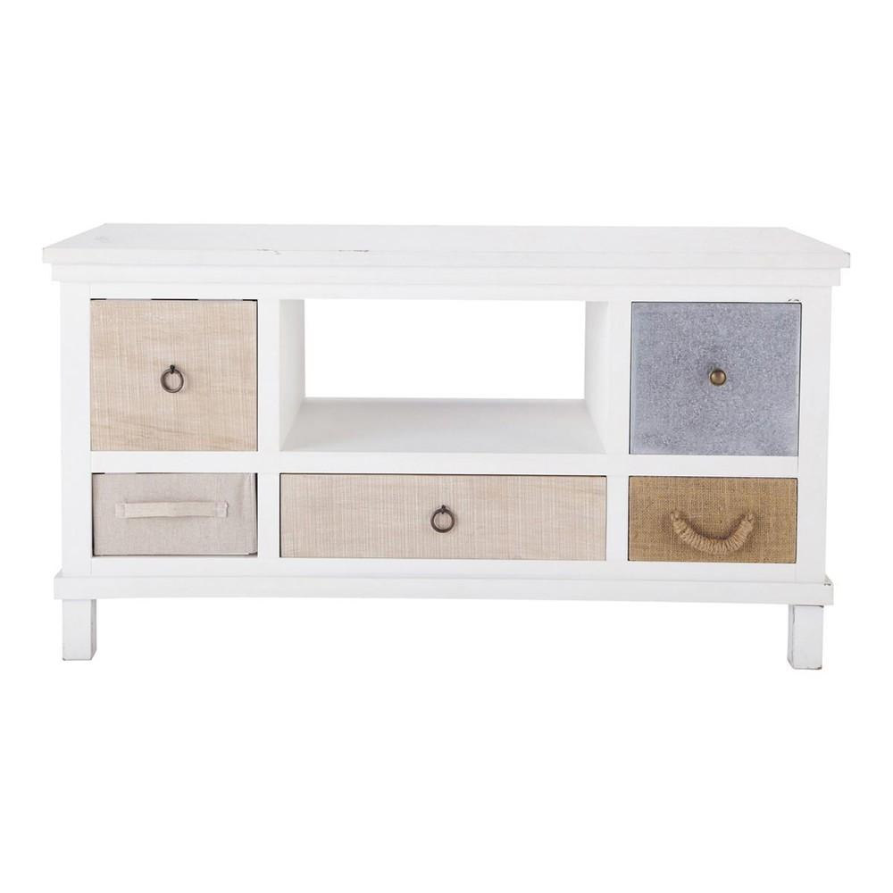 Porta tv bianco in legno l 110 cm ouessant maisons du monde for Banc tv blanc et bois