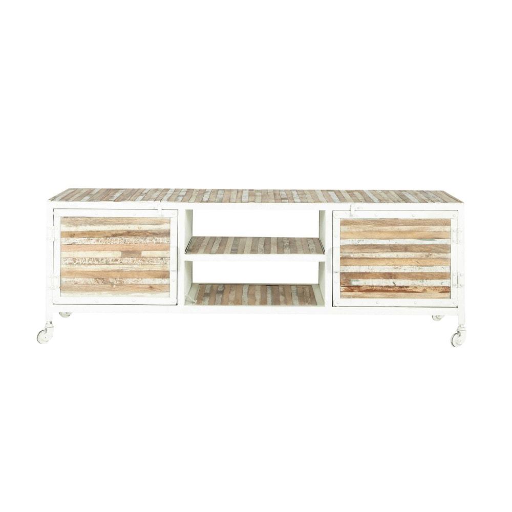 porta tv bianco in metallo e legno l 140 cm mistral maisons du monde. Black Bedroom Furniture Sets. Home Design Ideas