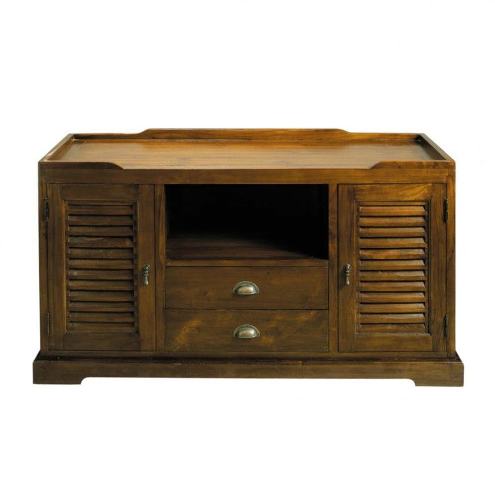 Porta tv in massello di tek l 140 cm key largo maisons - Mobili tv maison du monde ...