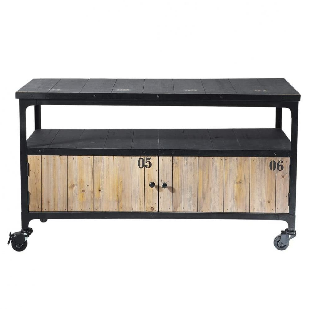 Porta tv nero a rotelle stile industriale in metallo e legno l 110 cm docks maisons du monde - Kast maison du monde ...
