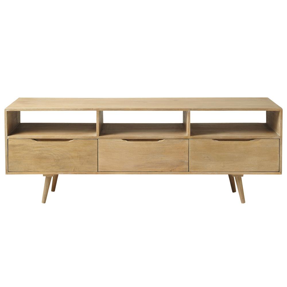 porta tv vintage in mango l 165 cm trocadero maisons du. Black Bedroom Furniture Sets. Home Design Ideas