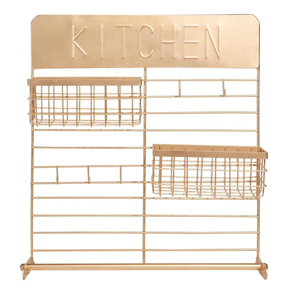 Portarotolo da cucina da parete in metallo dorato urban - Portarotolo cucina ...