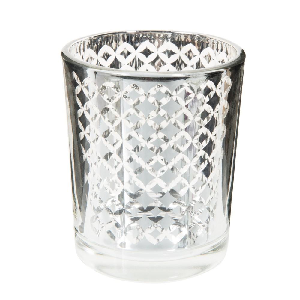 Portavelas de cristal al 7 cm graphique silver maisons - Portavelas cristal ...