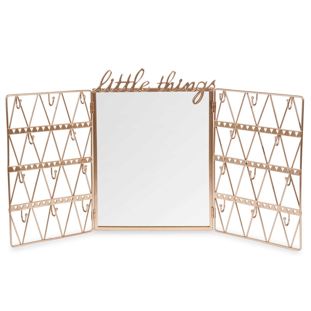porte bijoux avec miroir h 28 cm lulea champagne maisons du monde. Black Bedroom Furniture Sets. Home Design Ideas