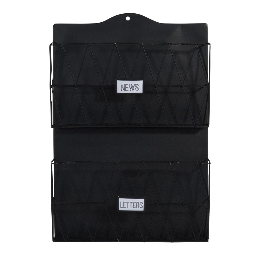 porte revues mural en m tal noir 35 x 51 cm black. Black Bedroom Furniture Sets. Home Design Ideas