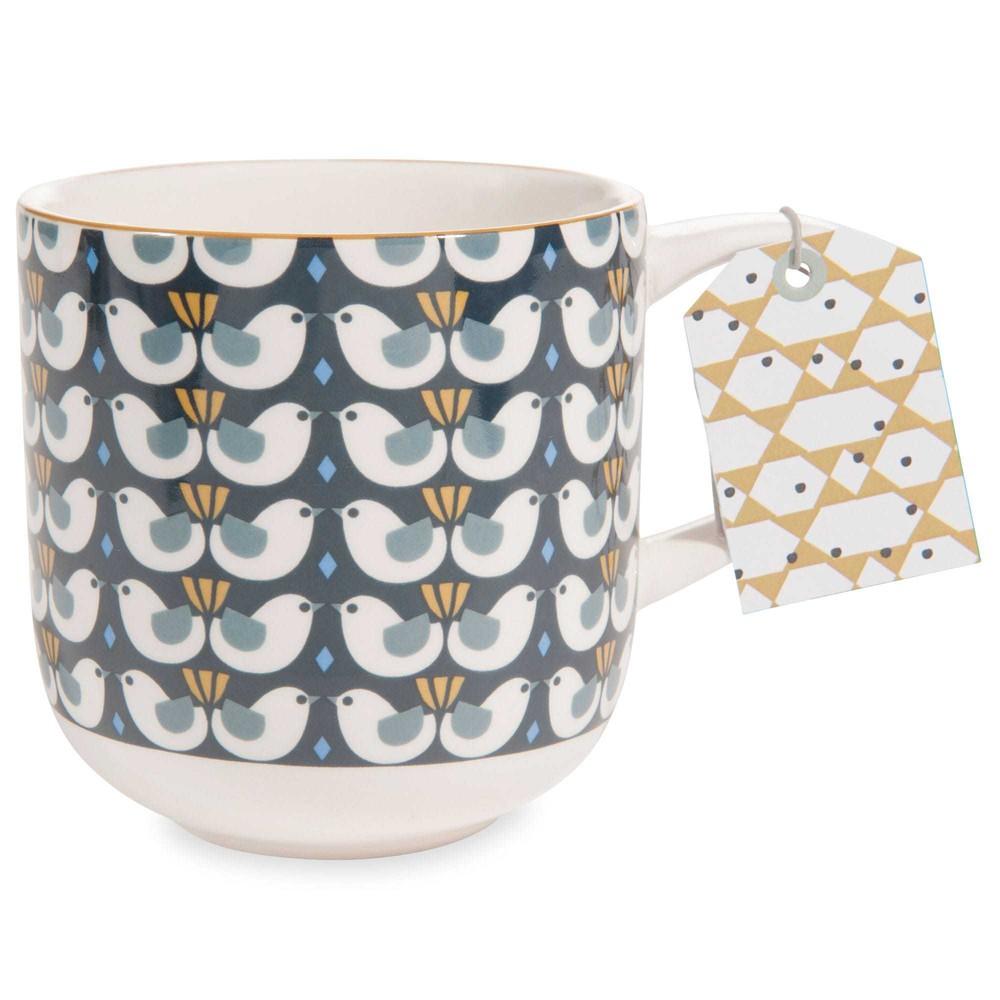 portobello faience mug with bird motif maisons du monde. Black Bedroom Furniture Sets. Home Design Ideas