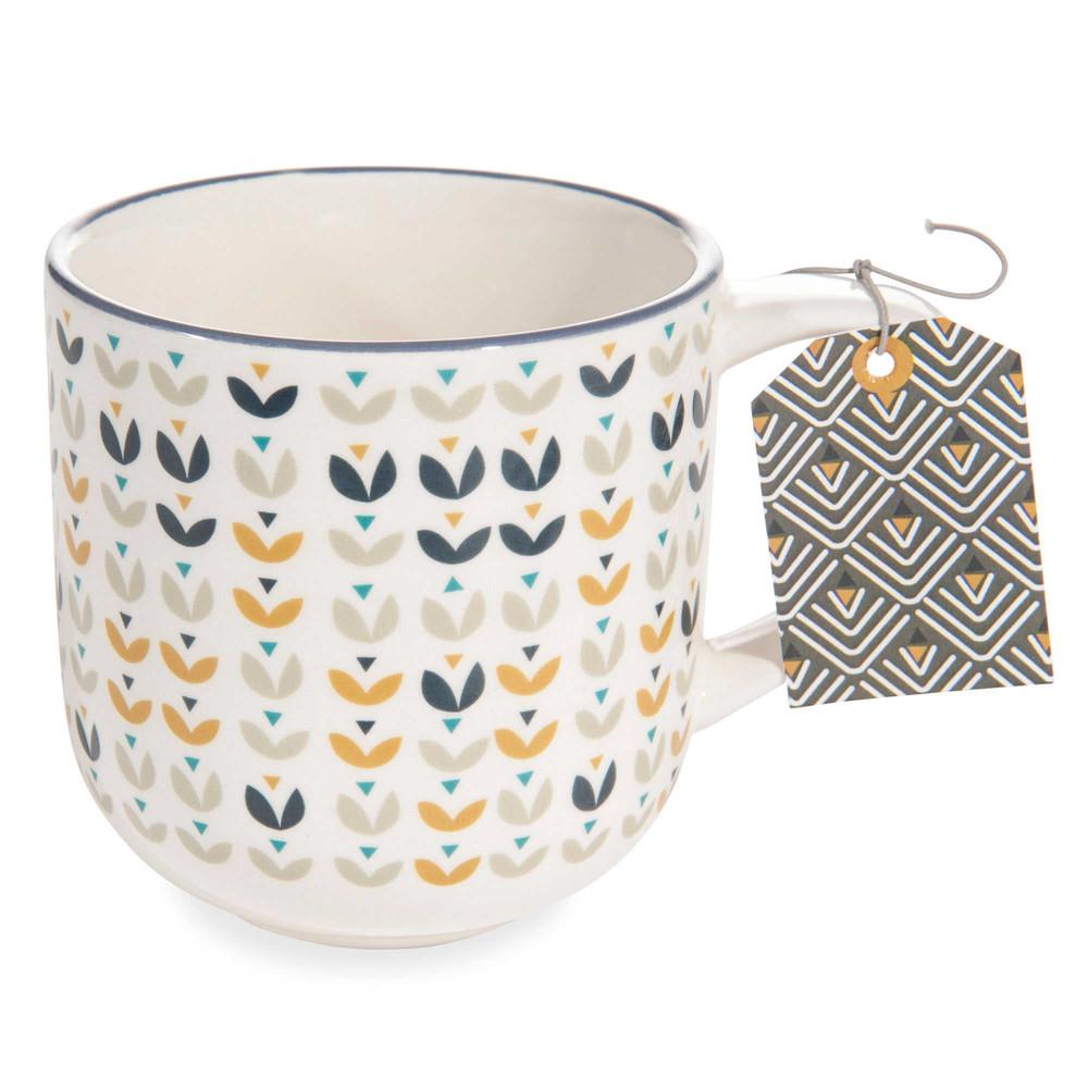 portobello faience mug with flower motif maisons du monde