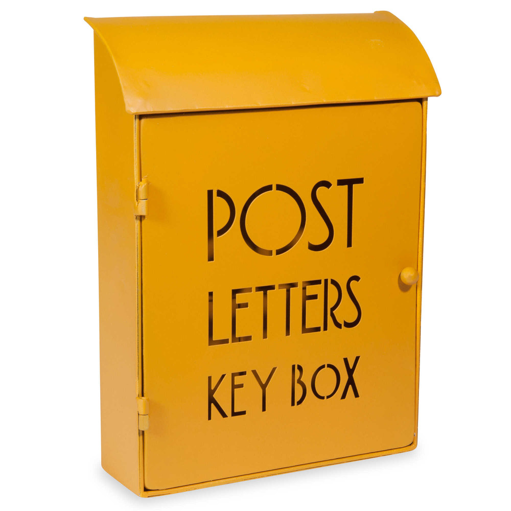 post yellow metal key box 21 x 30 cm maisons du monde. Black Bedroom Furniture Sets. Home Design Ideas