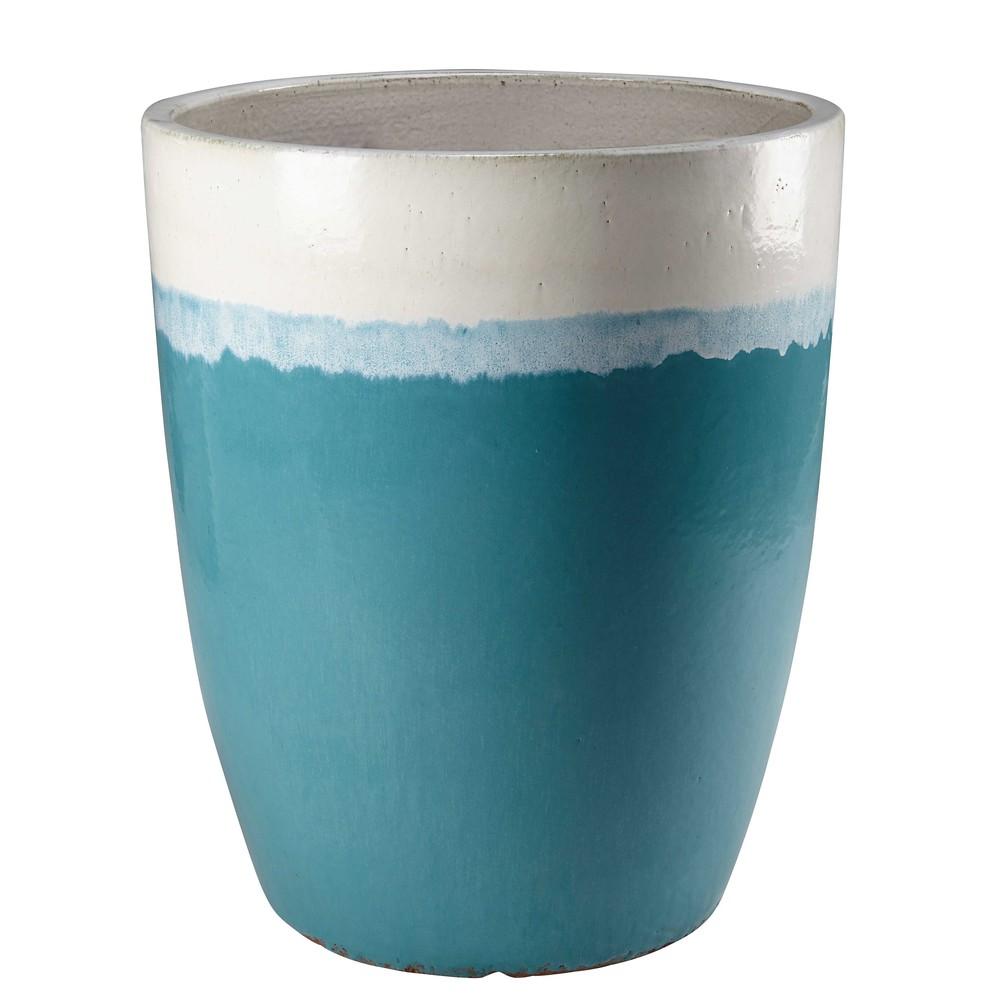 Pot de jardin en c ramique blanche et bleue bolivia for Pot ceramique exterieur