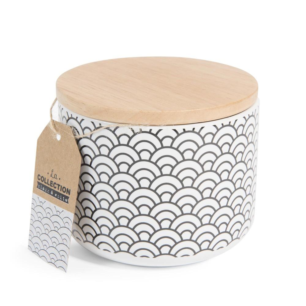 pot motif japonais en porcelaine h 10 cm black white maisons du monde. Black Bedroom Furniture Sets. Home Design Ideas