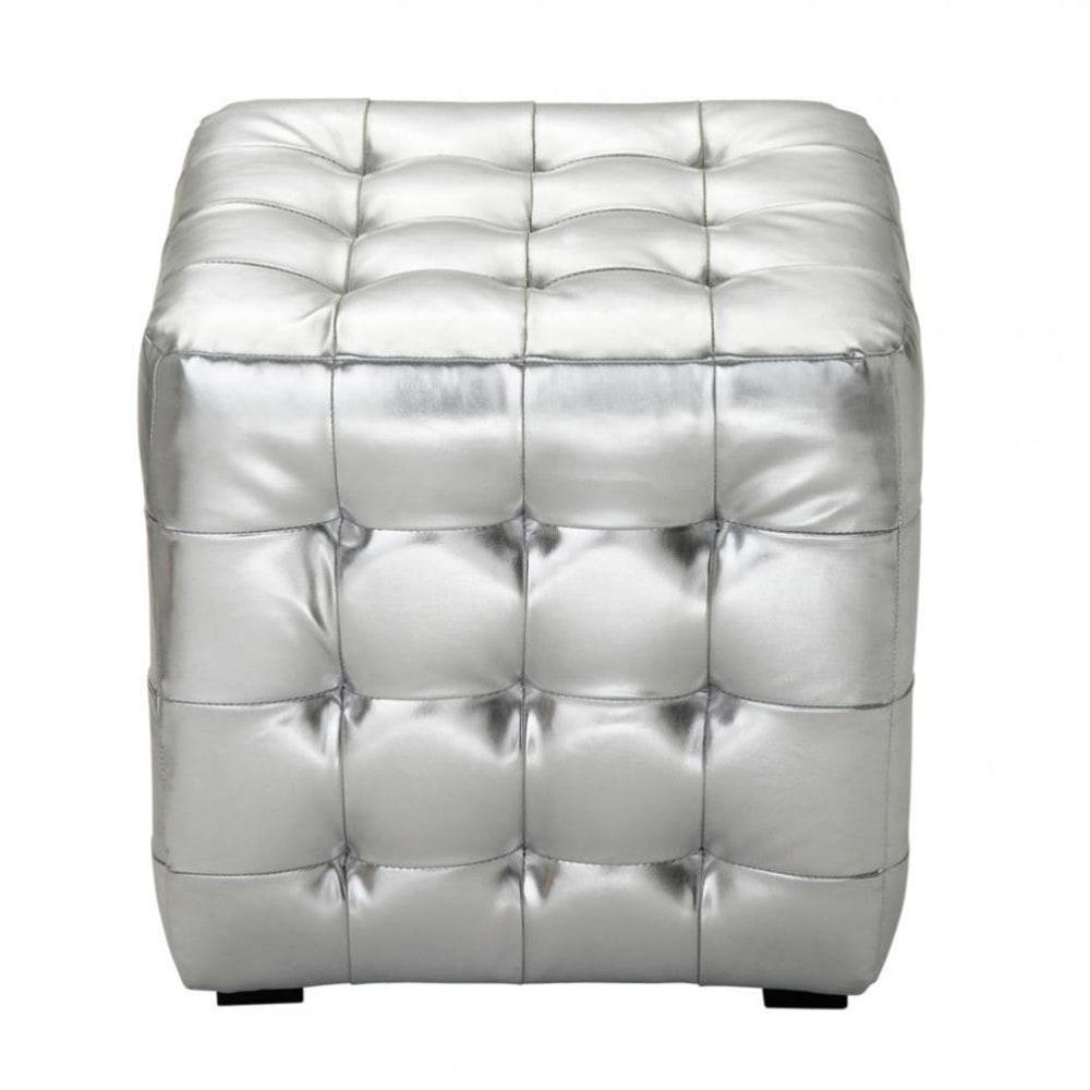 pouf argent capitonn chesterfield maisons du monde. Black Bedroom Furniture Sets. Home Design Ideas