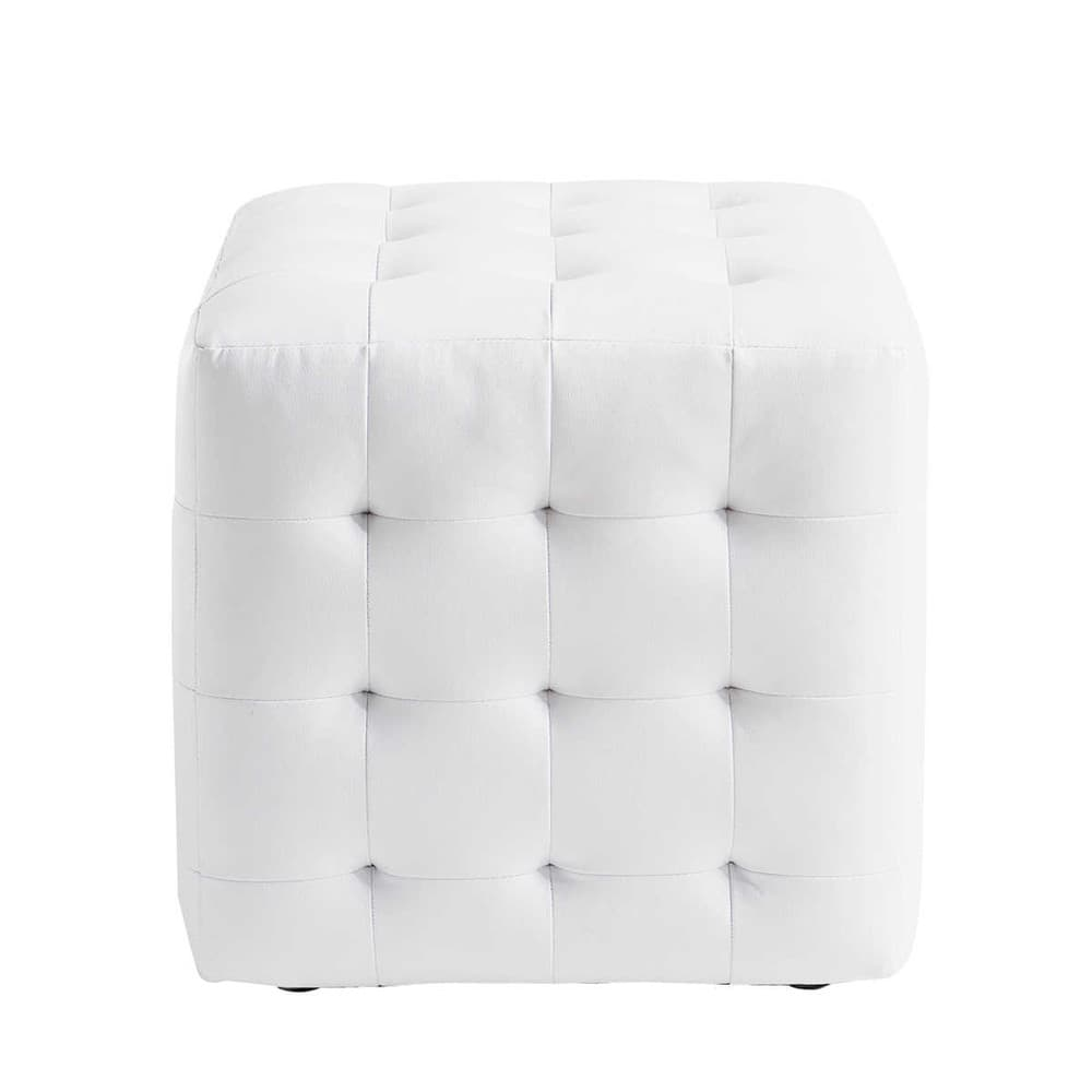 pouf blanc capitonn chesterfield maisons du monde. Black Bedroom Furniture Sets. Home Design Ideas