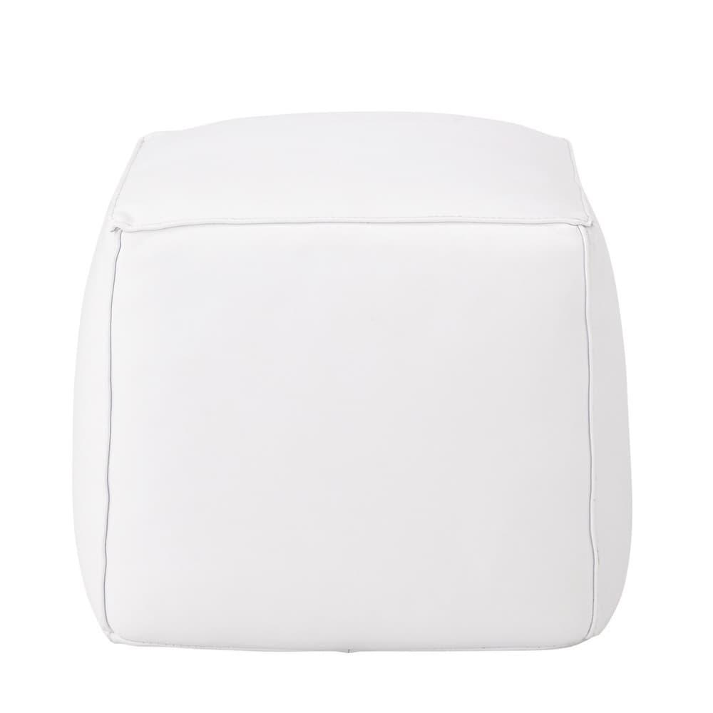 Pouf carr cuir blanc sam maisons du monde - Pouf cuir blanc design ...