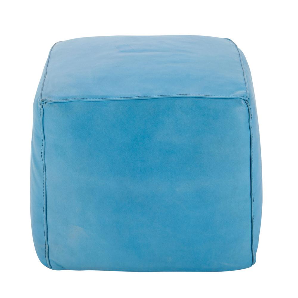 pouf carr cuir bleu sam maisons du monde. Black Bedroom Furniture Sets. Home Design Ideas