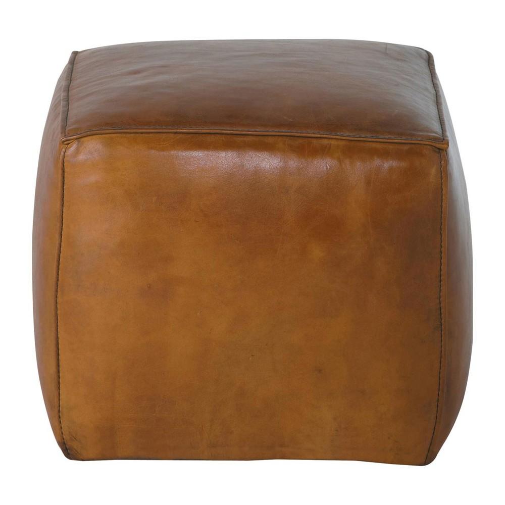 Pouf carr cuir marron clair sam maisons du monde for Pouf argente maison du monde