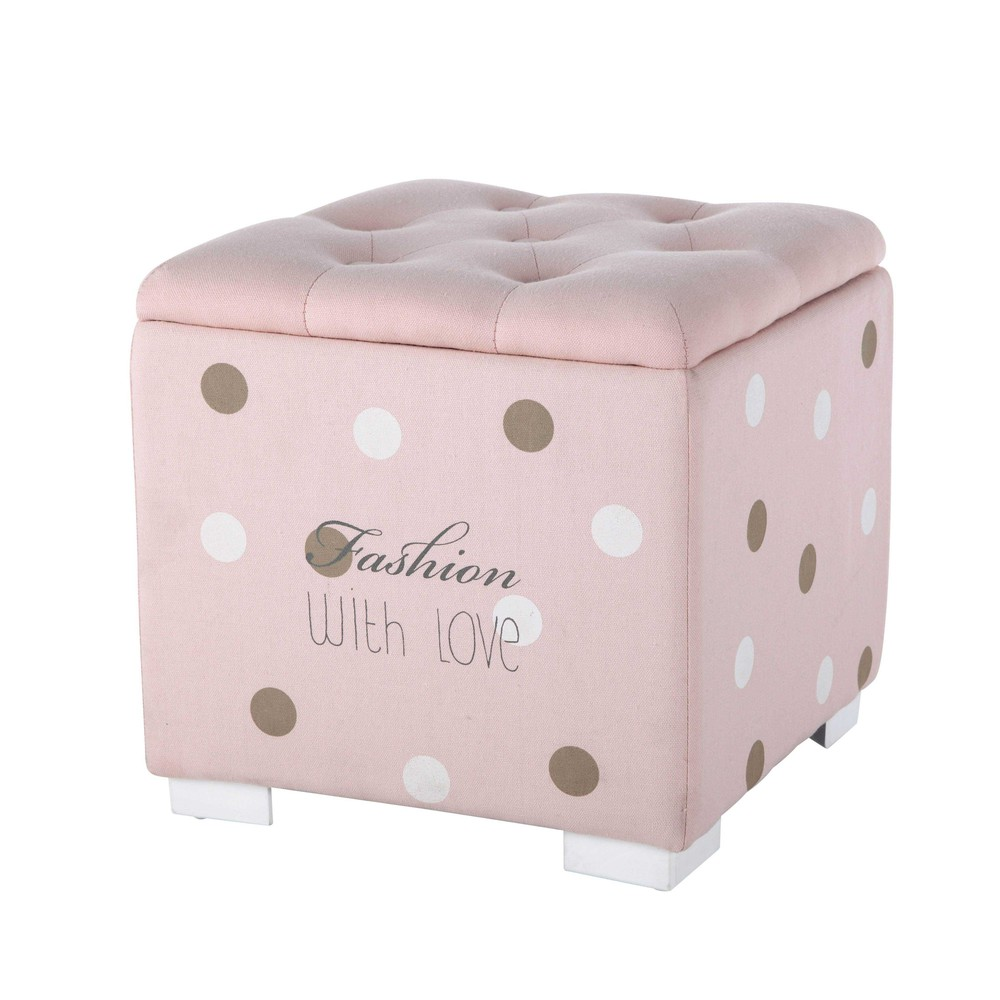 pouf coffre capitonn pois en tissu rose blush maisons du monde. Black Bedroom Furniture Sets. Home Design Ideas