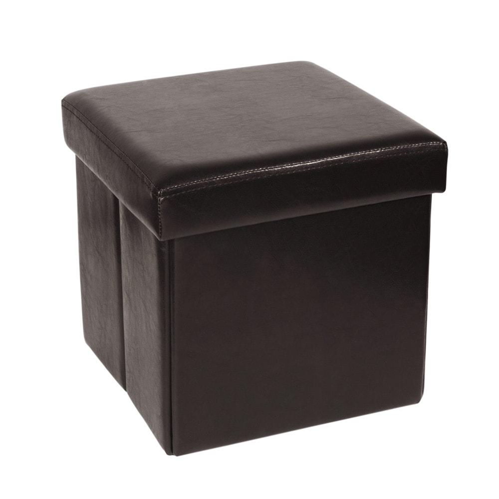 pouf coffre pliable en polyur thane marron maisons du monde. Black Bedroom Furniture Sets. Home Design Ideas