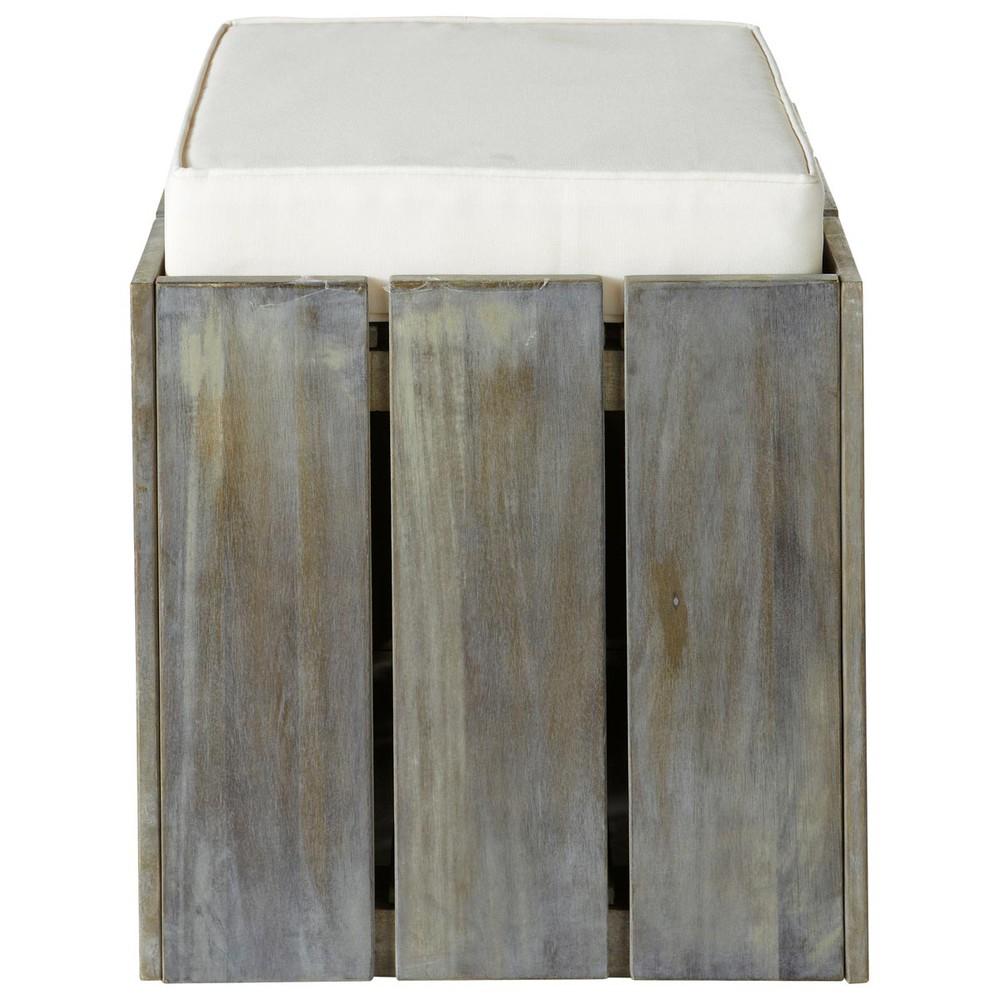 pouf d 39 ext rieur ivoire bois gris etretat maisons du monde. Black Bedroom Furniture Sets. Home Design Ideas