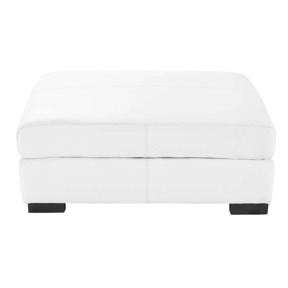 pouf de canap modulable en cuir blanc terence maisons du monde. Black Bedroom Furniture Sets. Home Design Ideas