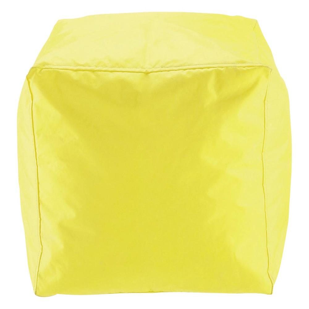 Pouf de jardin en plastique jaune multico maisons du monde for Pouf contemporain