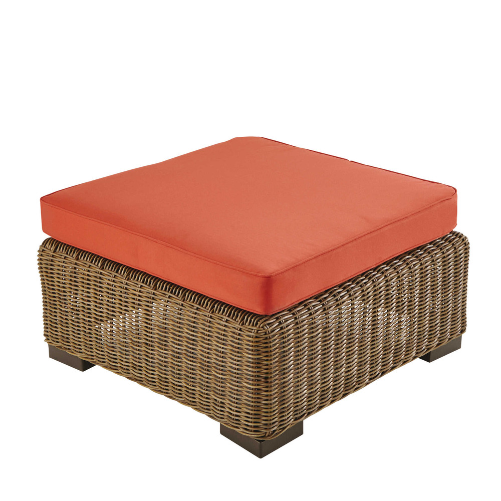pouf de jardin en r sine tress e et tissu rouge brique fidji maisons du monde. Black Bedroom Furniture Sets. Home Design Ideas