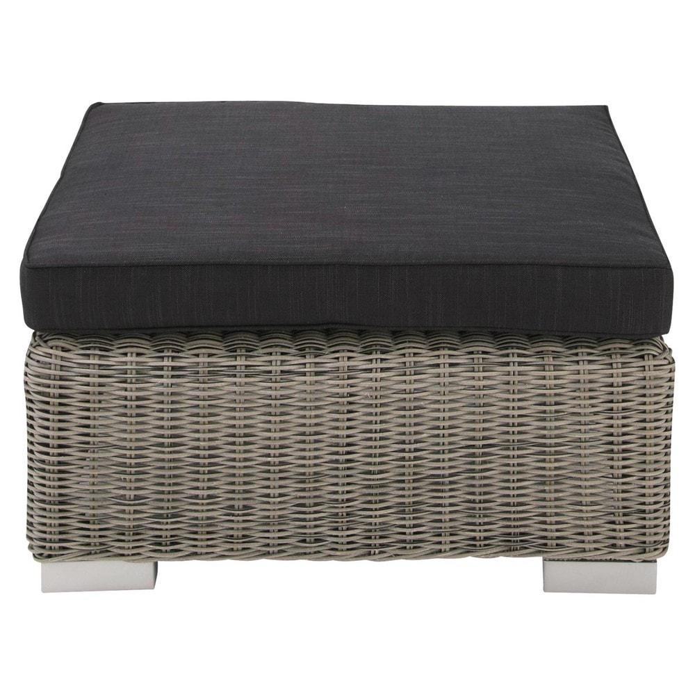 pouf de jardin en r sine tress e grise cape town maisons. Black Bedroom Furniture Sets. Home Design Ideas