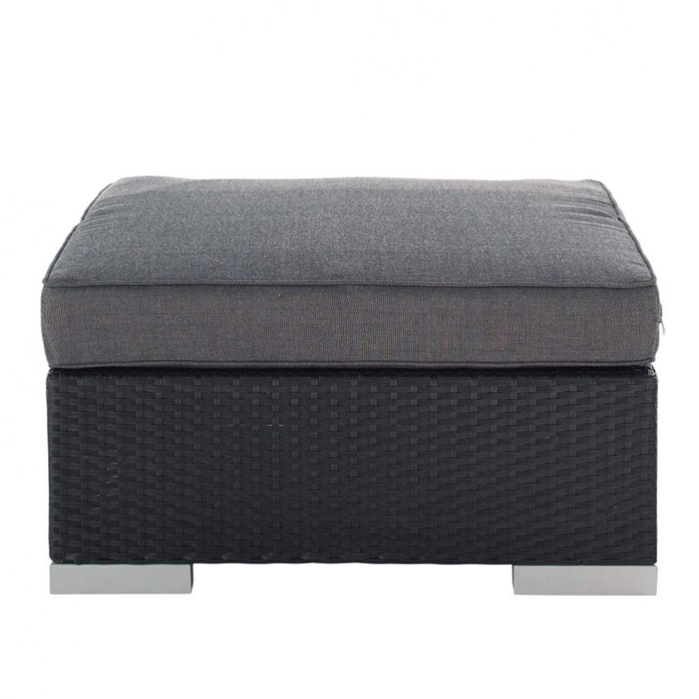 pouf de jardin en r sine tress e noir antibes maisons du monde. Black Bedroom Furniture Sets. Home Design Ideas
