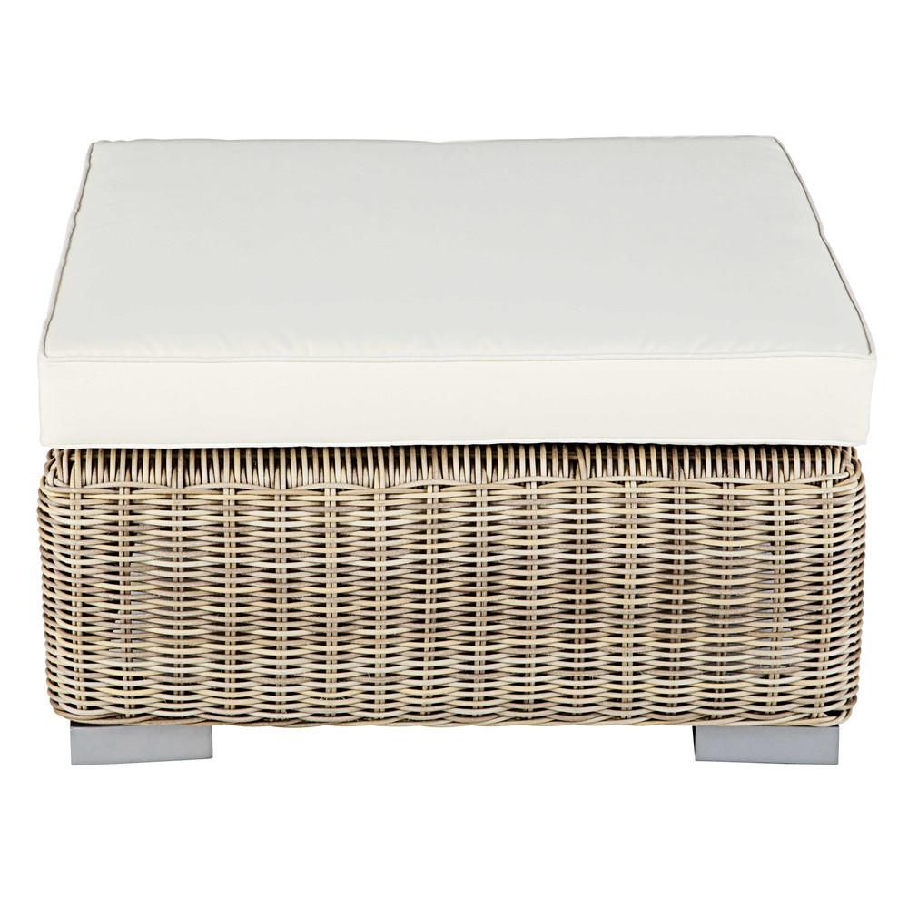 pouf de salon de jardin en r sine tress e beige et coussin. Black Bedroom Furniture Sets. Home Design Ideas