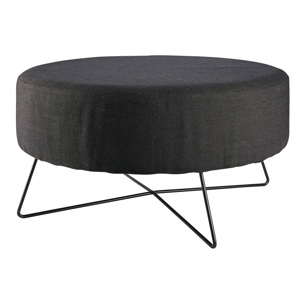 pouf en coton et m tal noir alia maisons du monde. Black Bedroom Furniture Sets. Home Design Ideas