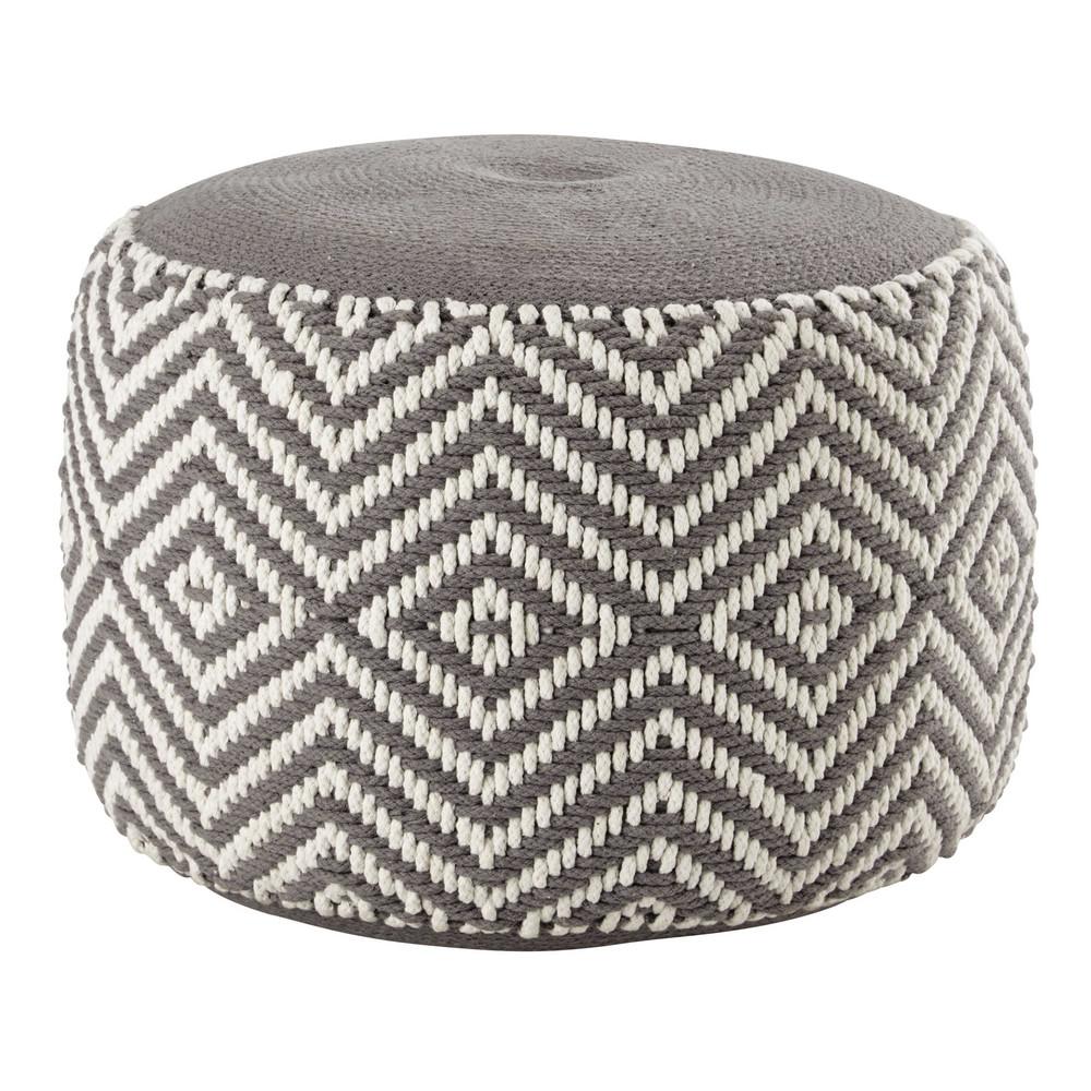 pouf en coton gris blanc warm maisons du monde. Black Bedroom Furniture Sets. Home Design Ideas