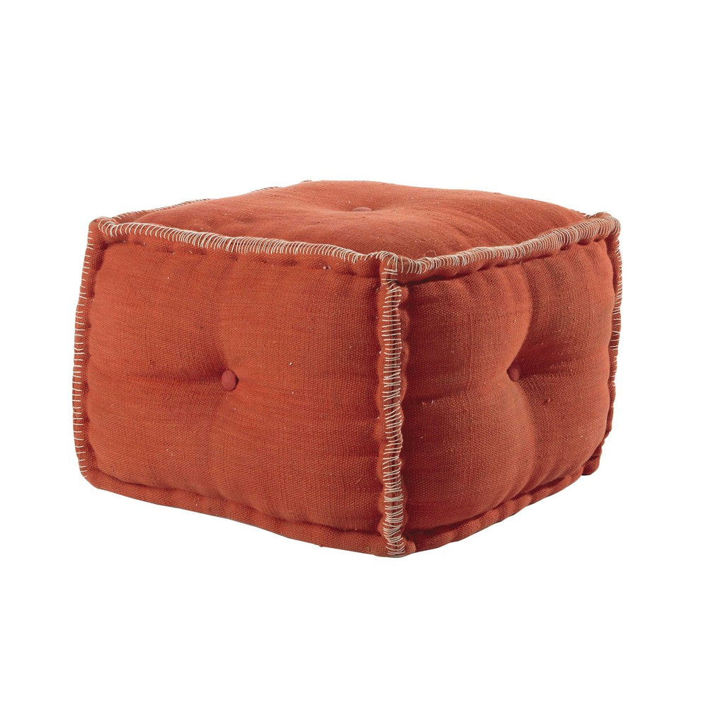 pouf en coton orange madras maisons du monde. Black Bedroom Furniture Sets. Home Design Ideas