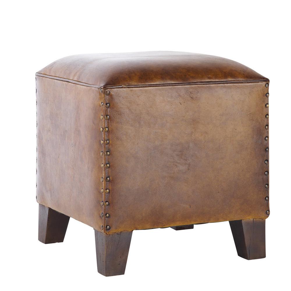 pouf en cuir de ch vre marron fantasia maisons du monde. Black Bedroom Furniture Sets. Home Design Ideas
