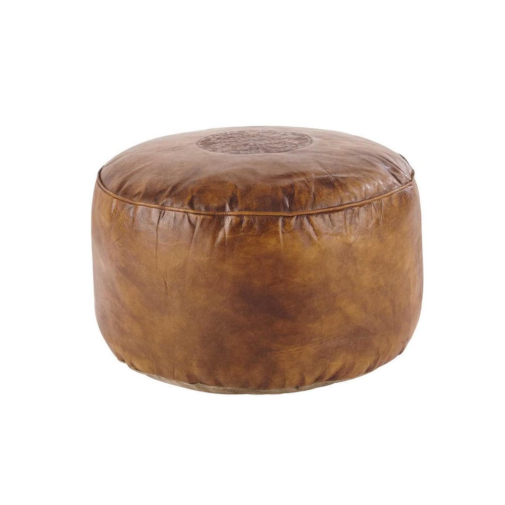Pouf en cuir de ch vre marron hassan maisons du monde - Pouf cuir marron chocolat ...