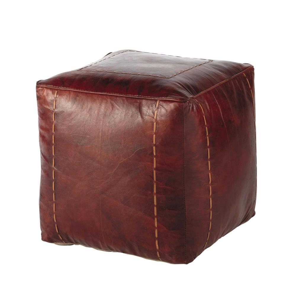 pouf en cuir de ch vre rouge ray maisons du monde. Black Bedroom Furniture Sets. Home Design Ideas