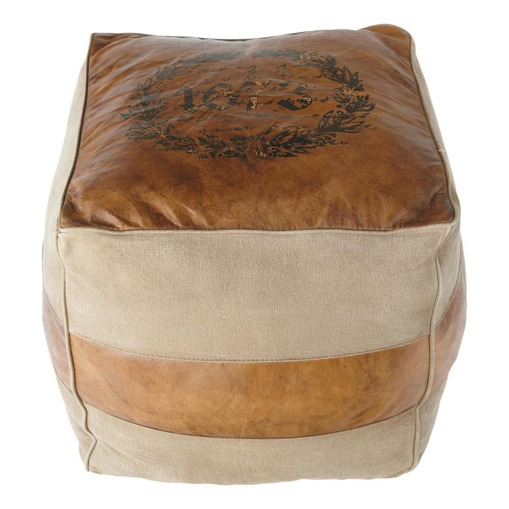 pouf en cuir et coton pionnier maisons du monde. Black Bedroom Furniture Sets. Home Design Ideas