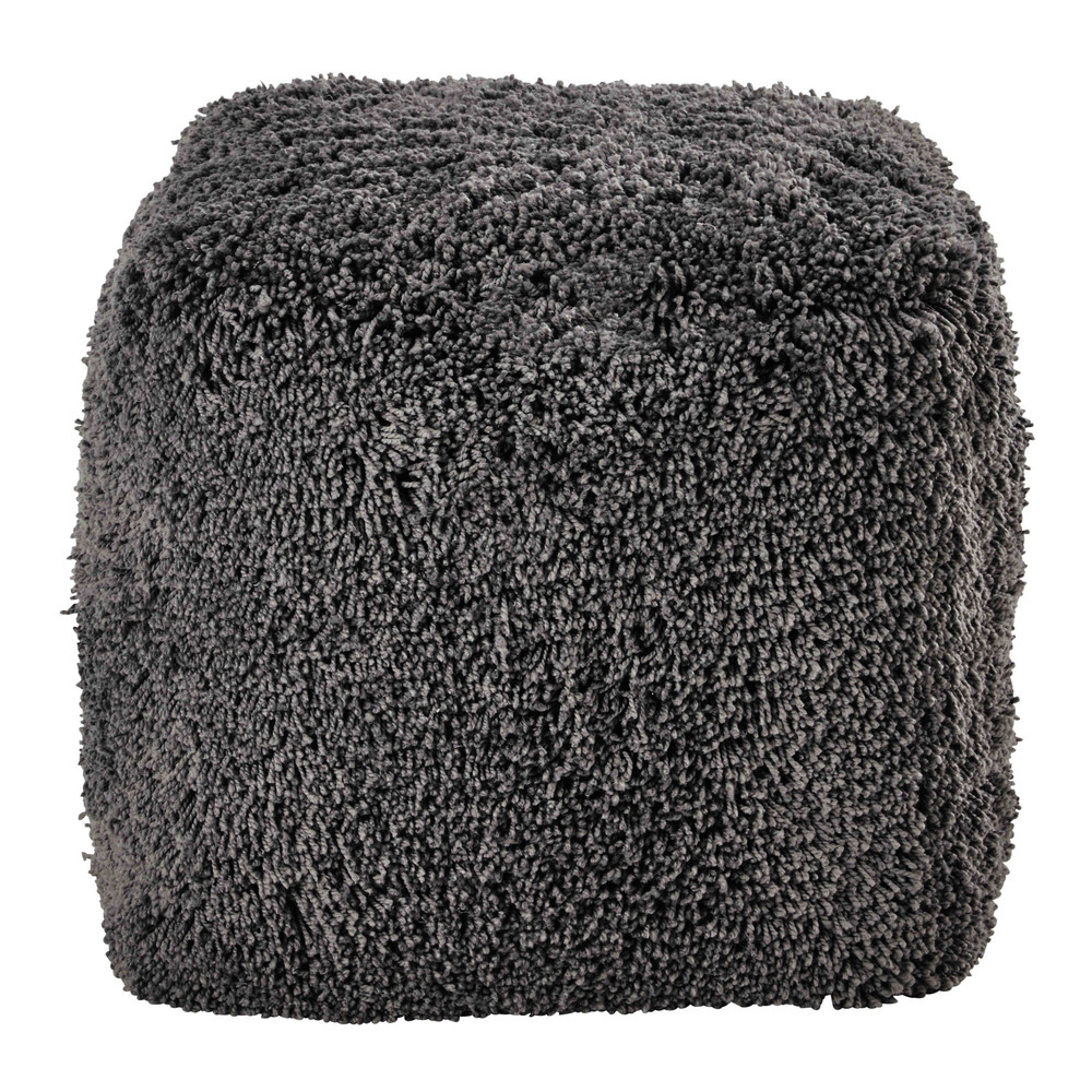 pouf en fausse fourrure grise fluffy maisons du monde. Black Bedroom Furniture Sets. Home Design Ideas