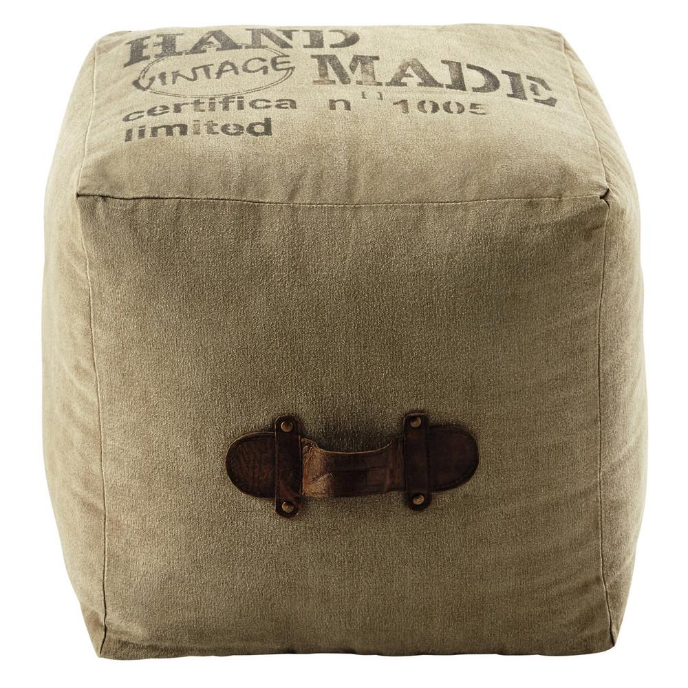 Pouf en tissu recycl marshall maisons du monde for Maison du monde pouf