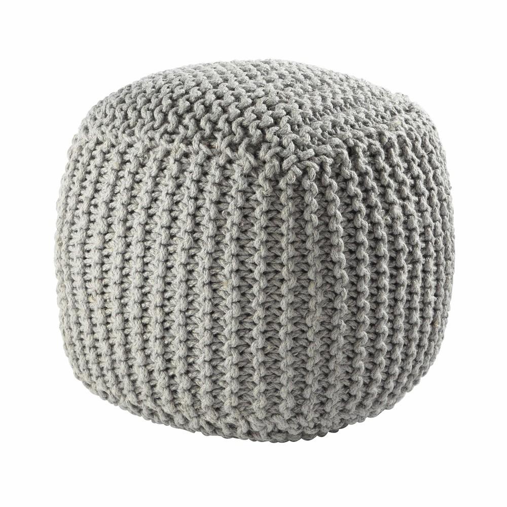pouf grigio intrecciato in lana baltique maisons du monde. Black Bedroom Furniture Sets. Home Design Ideas