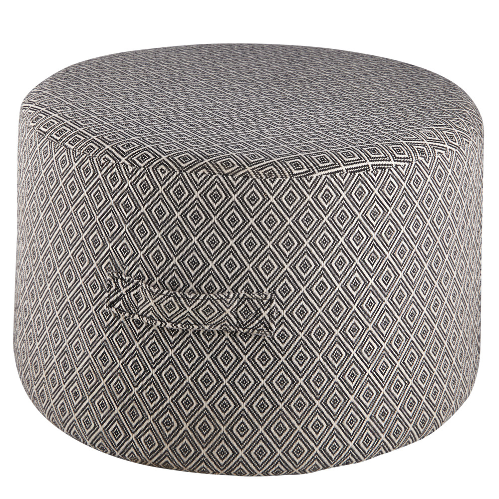 pouf in cotone nero e cru con motivi jacquard boreal maisons du monde. Black Bedroom Furniture Sets. Home Design Ideas