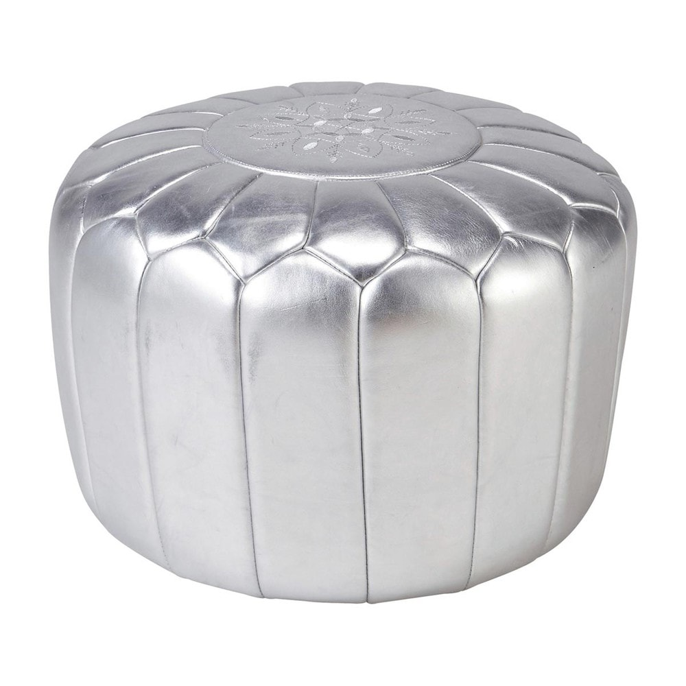 pouf marocain cuir argent marrakech maisons du monde. Black Bedroom Furniture Sets. Home Design Ideas