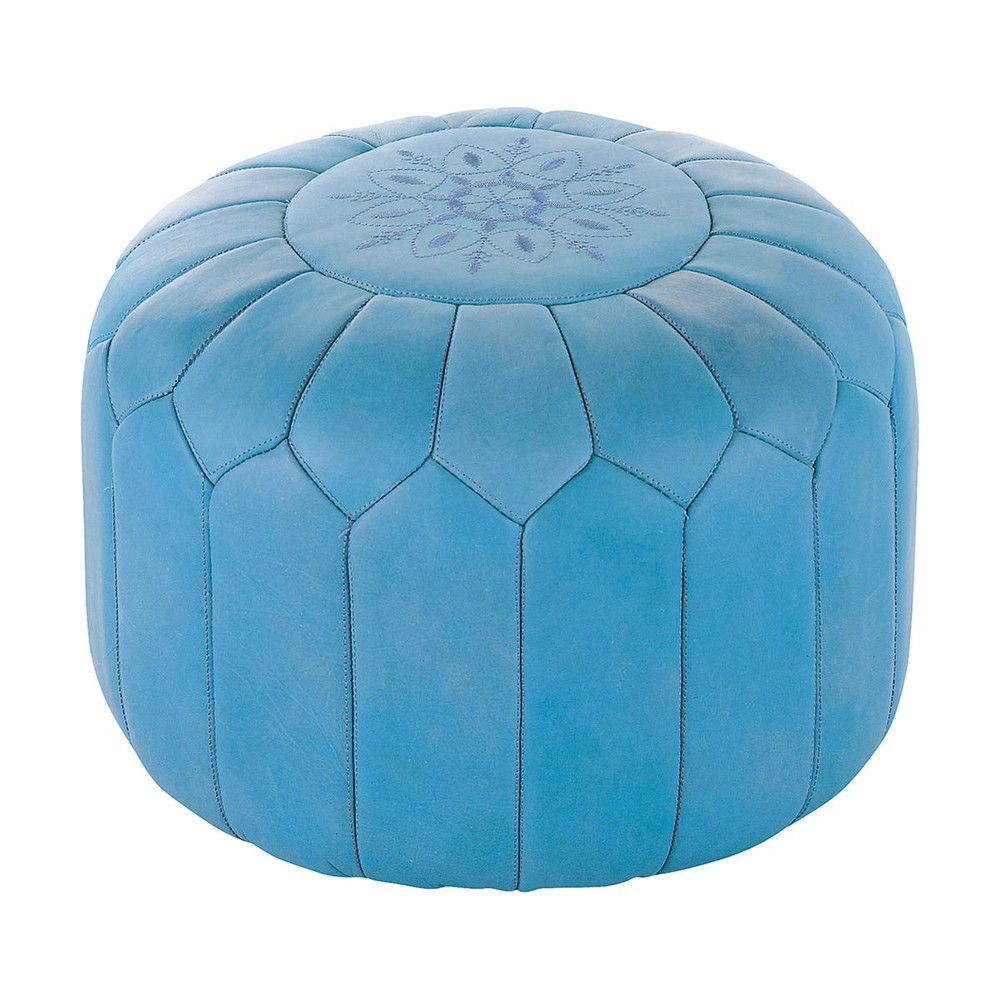 pouf marocain cuir bleu marrakech maisons du monde. Black Bedroom Furniture Sets. Home Design Ideas